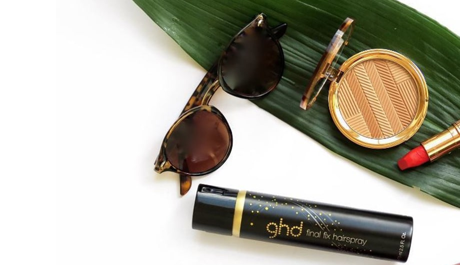 Summer essentials - sunglasses, lipstick and ghd hairspray