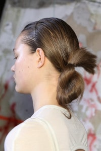 Close up of model's hair.