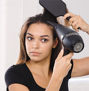 step three: Blow-dry hair away from face