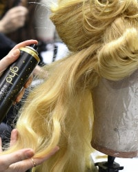 ghd final fix spray used to style the hair.