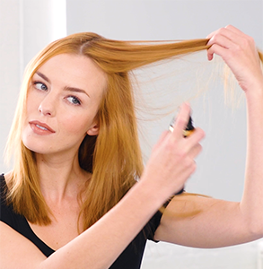 step one: Prep hair with root lift product
