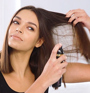 step one: Prep hair with ghd curl hold spray