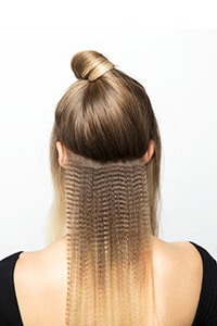 Section hair from ear to ear and crimp to tip