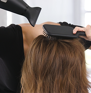 step two: Turn head upside and dry with hairdryer