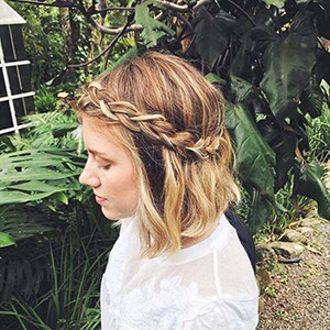 Wavy Braided Half Updo