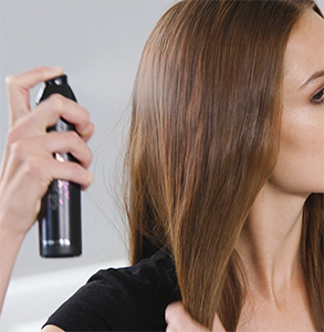 step one: Prep hair with curl hold spray