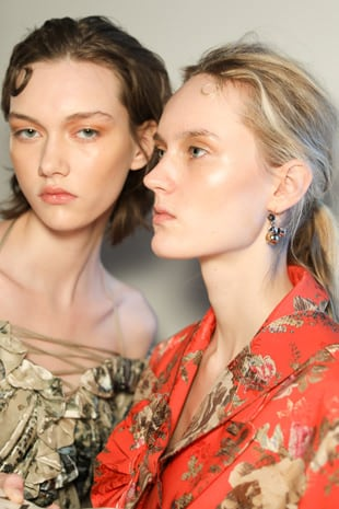 Close up of two Preen models