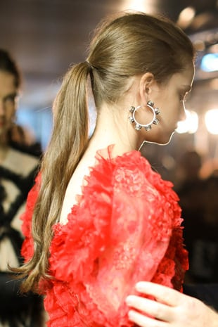 Close up of Preen model's ponytail
