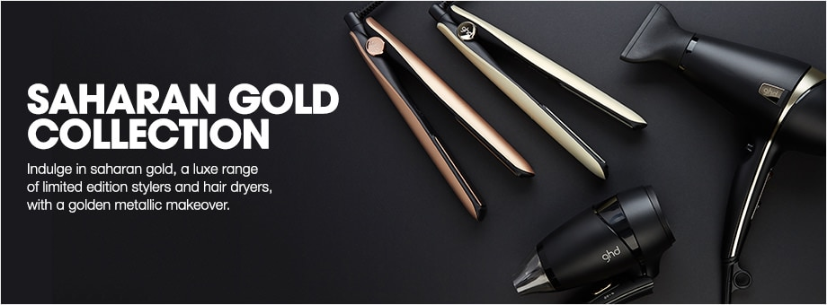 indulge in saharan gold, a luxe range of limited edition stylers and hair dryers, with a golden metallic makeover