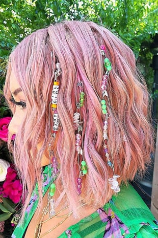 Pink Waves with embellishments