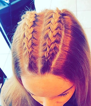 Double reverse French braids