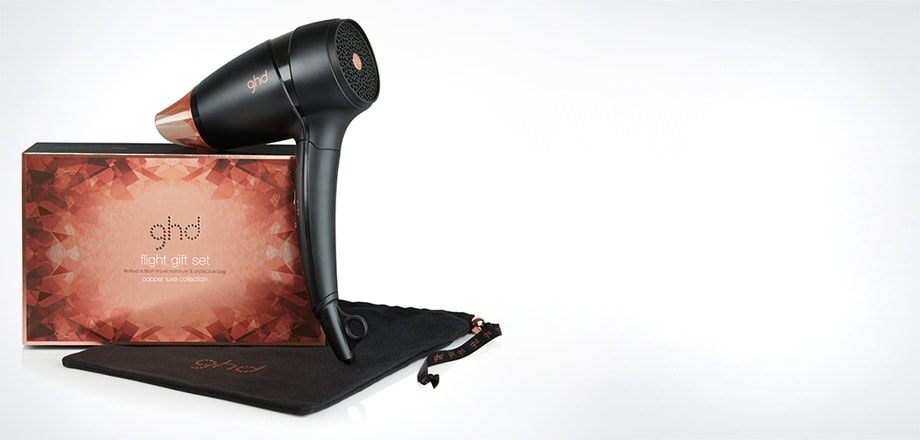 ghd flight® travel hairdryer copper luxe gift set